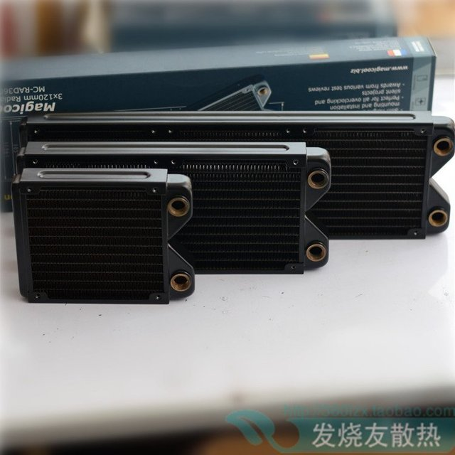 "Magicool G1/4 ""120MM 240MM 360MM Black Copper Radiator computer Water Cooling Heatsink fit 12cm fan 27mm thick M3 Screws"
