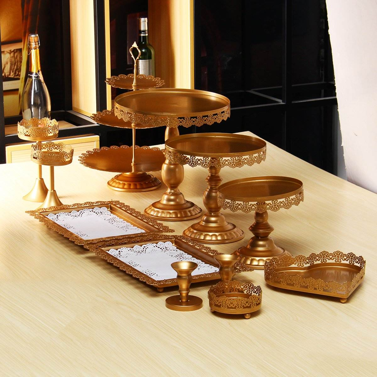 Vintage Metal Iron Cake Stands Cupcake Dessert Display Tray Holder Serving Rack Party Wedding Decorations Gifts 12Pcs/Set