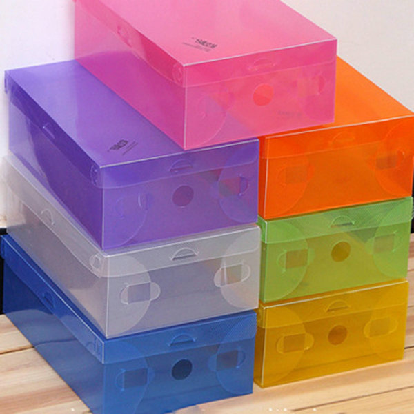 1PC Hot Sale Home Use Thicken Plastic Shoebox Stackable Foldable Shoe Organizer Storage Case