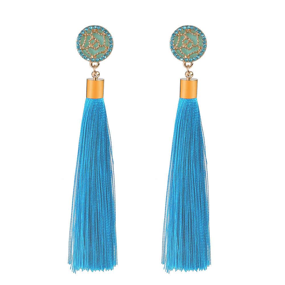 Fashion Vintage Bohemian Ethnic Long Color Cotton Drop Earrings for Women Girl Geometric Tassel Zircon Earring Jewelry