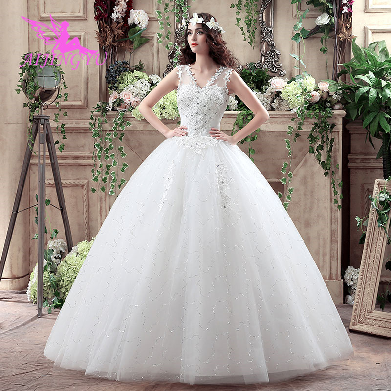 AIJINGYU 2018 Princess Free Shipping New Hot Selling Cheap Ball Gown Lace Up Back Formal Bride Dresses Wedding Dress WK261
