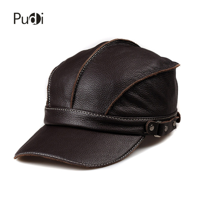a462b881809 Pudi HL006 genuine leather men baseball cap hat brand new men s real leather  adult adjustable trucker hunting army hats caps