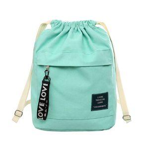 2019 New Fashion Canvas Drawstring Backpack Bag Cinch Sack Portable Casual String Sackpack Rucksacks(China)