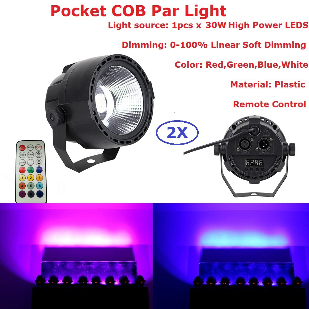 2XLot Carton Package 30W Stage Lights COB RGBW 4IN1 LED Par Lights DMX Control Disco Bar US EU Plug Strobe Effect Stage Lighting 2xlot 2016 led par can 7x10w rgbw 4in1 quad color mini par led dmx dj disco stage lights 70w moving head strobe effect projector