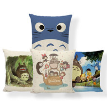 Totoro Miyazaki Umbrella Cushion Cover Anime Castle Pillow Case Firefly Abstract Hotel Nap Mat Throw Pillows 45X45Cm Burlap Soft