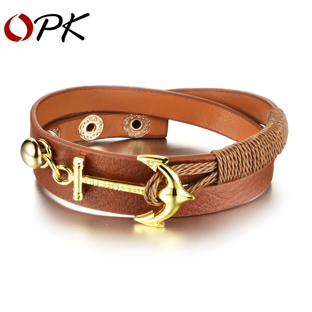OPK Anchor Design Mem Women Wrap Bracelets New Fashion Stainless Steel Classical Anchor Leather Bracelet Men