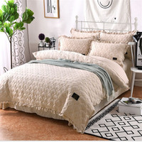 Home textile solid bedding set camel wash cotton bedding blue red qulit duvet cover soft flat sheet queen size brief bed linen