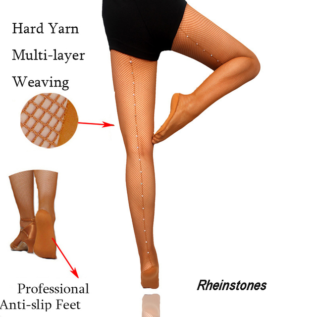f16704999098d Latin Tights Women Professional Fishnet Tights Ballroom&Latin Dance Hard  Yarn Elastic Latin Stockings Rhinestones Pantyhose