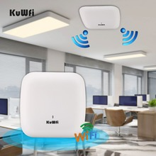 KuWFi 2.4G 5G High Performance 1200Mbps Indoor Ceiling Wireless AP Managed Ceiling-Mount  Support 32 End Users Plug And Play