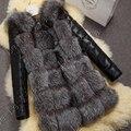 Европейский Стиль Мода зима Женщины шубу Женская одежда с ПУ рукава Женщины Фокс шубу Зимнее пальто размер S-XXXL