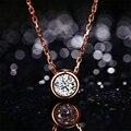 0.3ct LASAMERO 18 k de Oro Rosa Colgante Del Diamante Del Bisel Simple Solitario Diamante Natural Colgante de Collar de La Joyería Fina