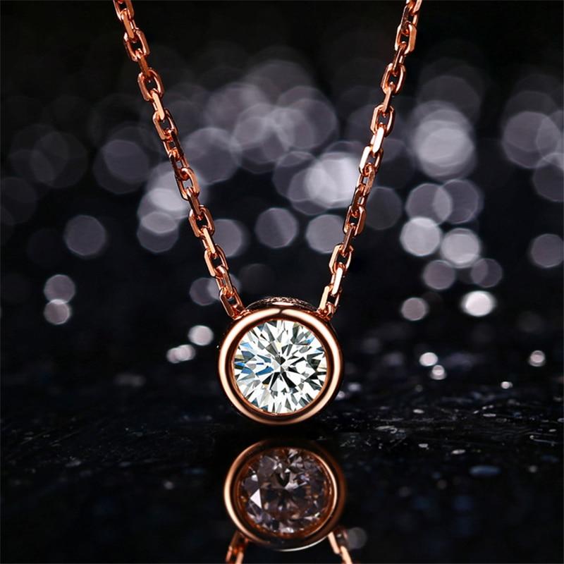 18k Rose Gold 0.3ct Bezel Diamond Pendant Simple Solitaire Natural Diamond Pendant Necklace Fine Jewelry