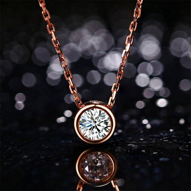 LASAMERO 18k Rose Gold 0.3ct Bezel Diamond Pendant Simple Solitaire Natural Diamond Pendant Necklace Fine Jewelry