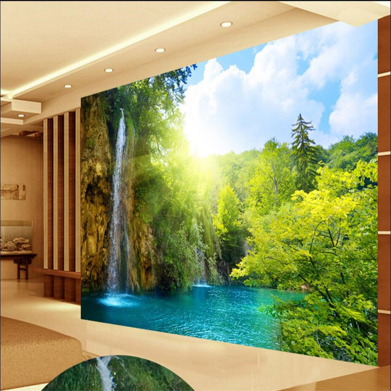Custom Photo Wallpaper Waterfall Scenic Lake Resort In The Morning Sun Background Large Mural D Wall Wallpaper For Living Room In Wallpapers From Home