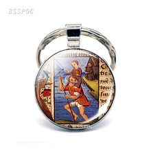 St Christopher Keychain Saint Bracelet Bring Love To Your Life Medal Earrings Jewelry Glass Cabochon Religious Jewerly Gift(China)