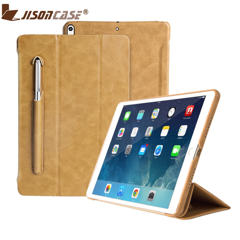 Jisoncase Luxury Leather Smart Cover for iPad Pro 9.7 Flip Folio Tablet Case with Pencil Slot for iPad 9.7 inch 2018 Released