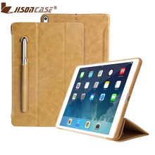 Jisoncase Luxury Microfiber Smart Cover for iPad 9.7 Flip Folio Tablet Case with Pencil Slot for iPad 9.7 inch 2018 Released