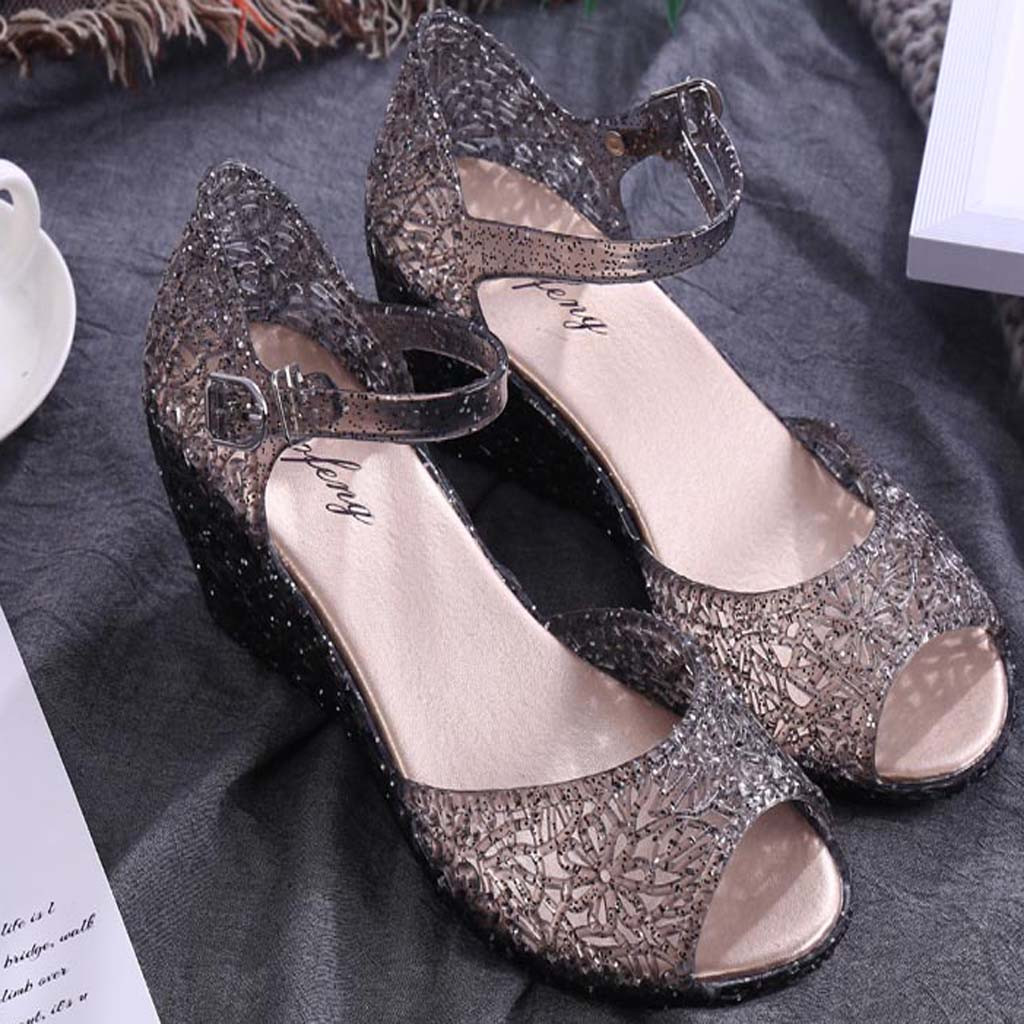 Womens Sandals Wedges Crystal Lace-Up Plastic Fish-Mouth Hollow Summer Feminin Solid