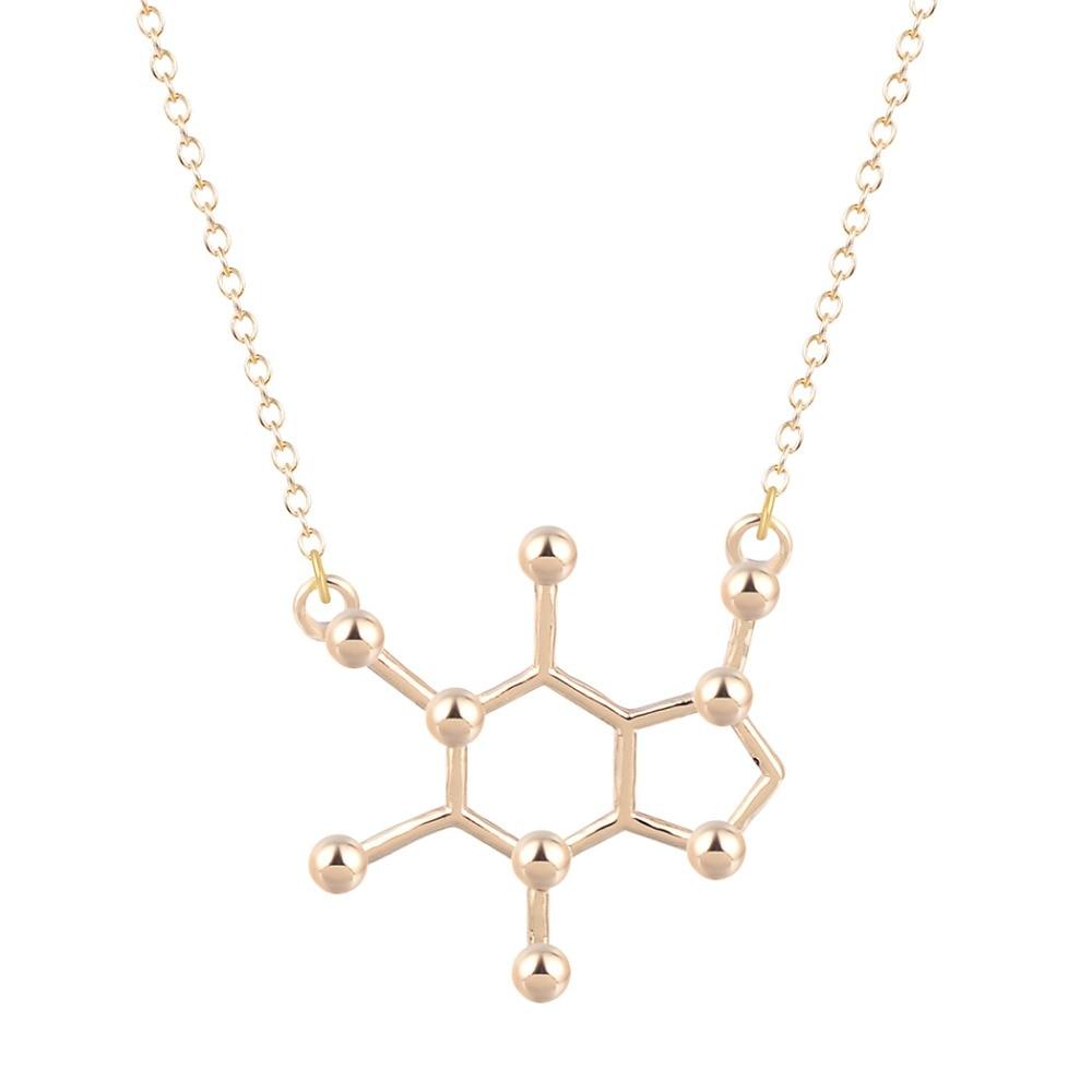 QIAMNI-Unique-Simple-Caffeine-Molecule-Geometric-Polygon-Bar-Chain-Pendant-Necklace-Women-Girls-Christmas-Party-Gift