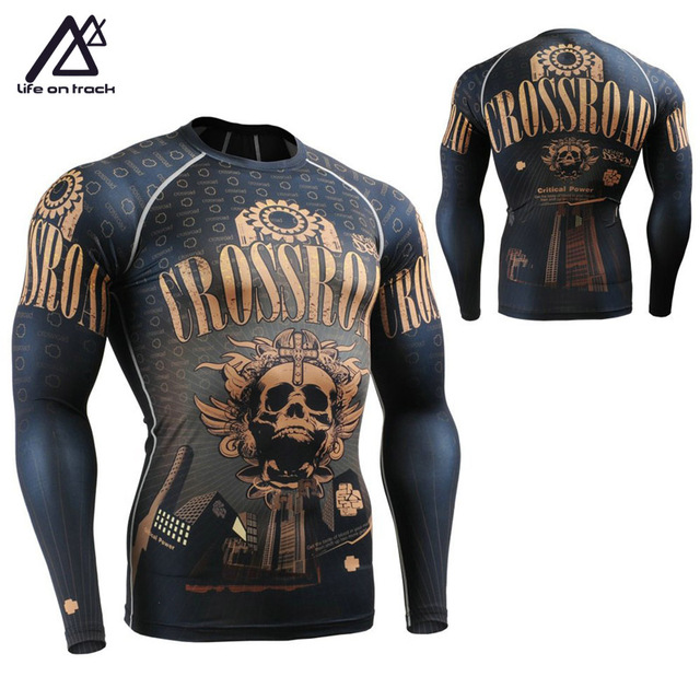 Cross Road Skull Print Male Cycling Running Training Sports Clothing Skins  Compression Tights Shirts Long Sleeve 476628432