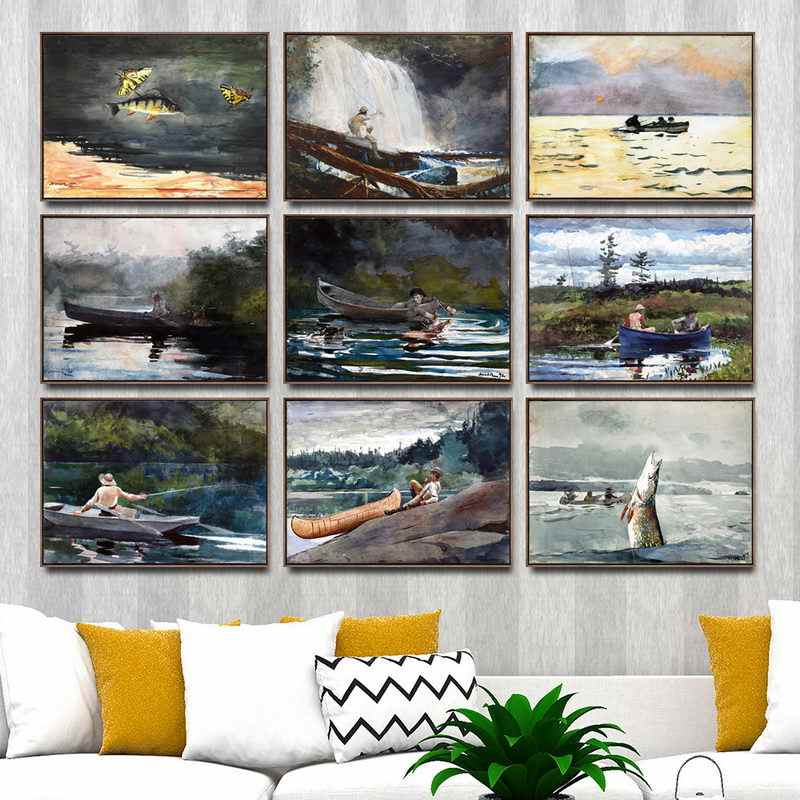 Home Decoration Art Wall Pictures Fro Living Room Poster Print Canvas Paintings  American Winslow Homer Fishing boat