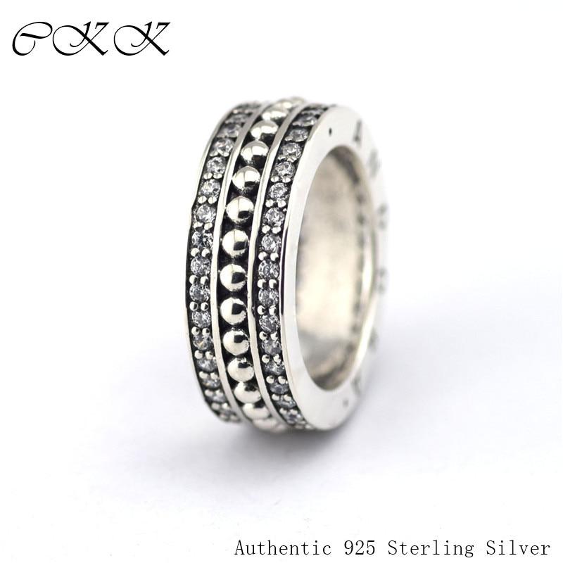 Authentique 925 en argent Sterling pour toujours anneaux avec zircon cubique pour les femmes bricolage bijoux fins SR063