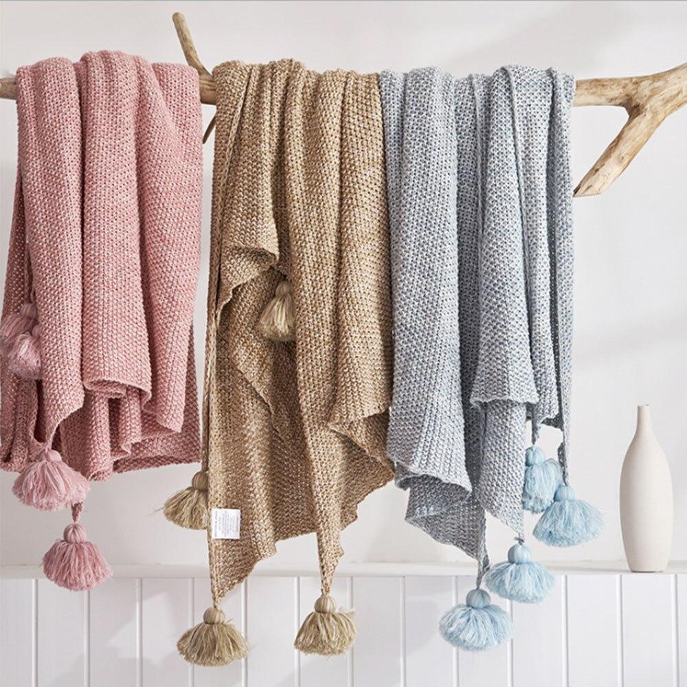 Nouvelle pur coton vent Nordique, printemps été couverture, tapis tapis, à tricoter fil couvertures.