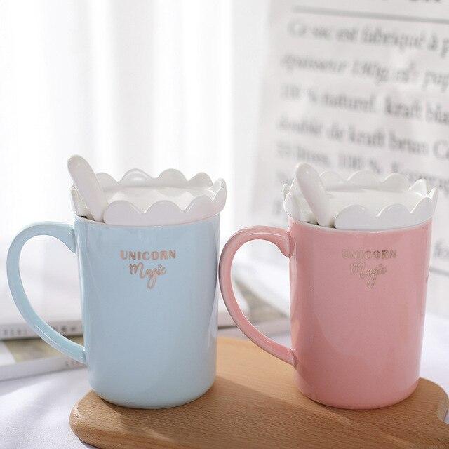 Creative 3D Unicorn Coffee Mug with Spoon and Crown