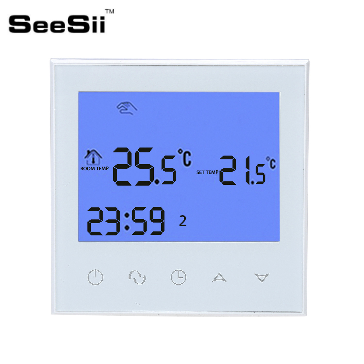 SeeSii Programmable Thermostat Heating Temp WiFi LCD Touch Screen Temperature Control Underfloor 16A 230V Remote valve radiator linkage controller weekly programmable room thermostat wifi app for gas boiler underfloor heating