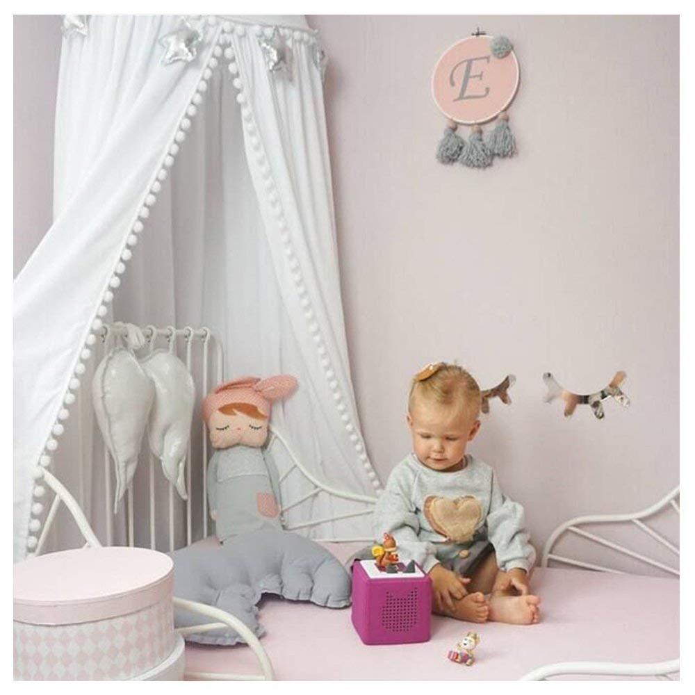 Пряжа шары детская кровать навес с помпонами Висячие/Москитная сетка для детской кроватки замок Игровая палатка детская игровая комната Декор - Цвет: White with pom pom