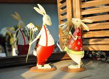 Free shipping,2pcs/set,High-20cm,Export idyllic rustic red rabbit couple sets Decoration.New Year's gift of marriage,wedding dec