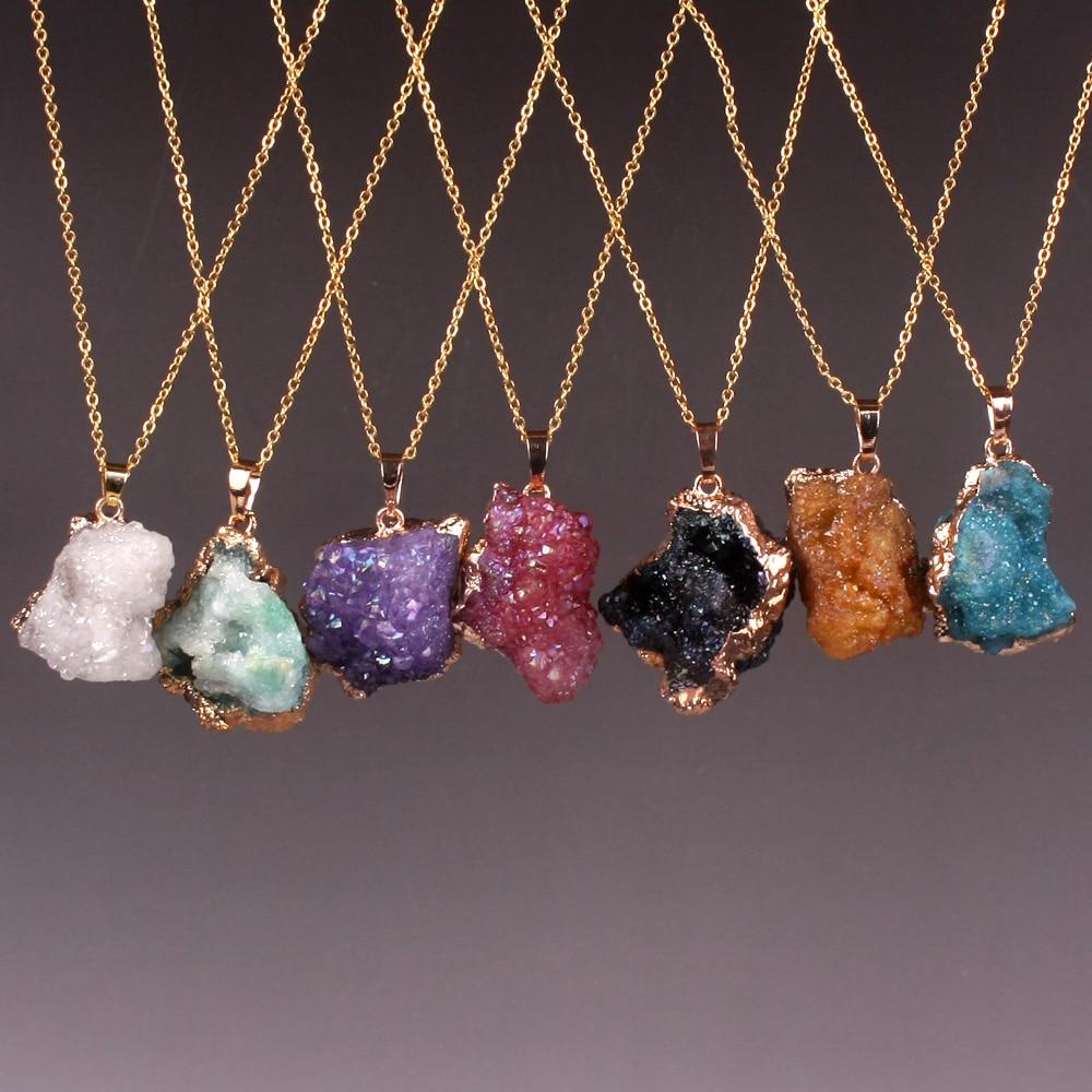 Druzy Vogue Kolorowy nieregularny kształt Naturalny fioletowy kryształ Drusy Kryształ Szorstki surowy kwarc Naszyjnik Męski żeński Biżuteria