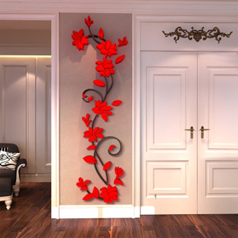 3d rose flower wall sticker removable acrylic home decor for 3d dining room wall art