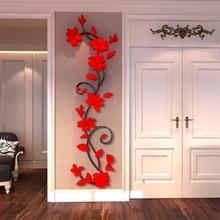 3D Rose Flower Muursticker Verwijderbare Acryl Home decor Sticker Slaapkamer Eetkamer Vinyl DIY Muurstickers Decal