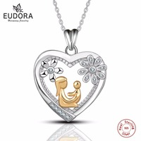 Eudora Real 100% 925 Sterling Silver Gold Color Mom Hold Baby in Crystal Heart Pendant Necklace for Women's Fashion Jewelry