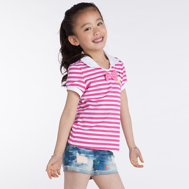 Girls polo shirt short sleeve kids t shirt striped cute for Polo shirt girl addiction