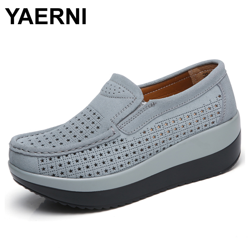YAERNI 2017 spring women flat platform loafers shoes ladies suede leather hollow casual shoes slip on flats Moccasins creepers 8 fashion women flats platform shoes creepers summer women casual shoes loafers slip on white black moccasins chaussure femme