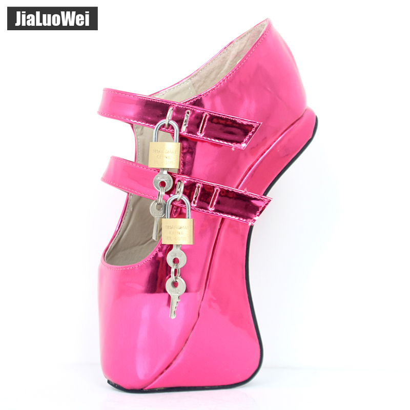 jialuowei Brand New Ballet Boots 18CM/7 Hoof Heel with strange heel Fashion Novelty Sexy Fetish Padlocks Crystal Ankle shoes jialuowei brand new high heel 7 18cm wedges heel ballet boots sexy fetish lace up patent leather knee high long boots plus size