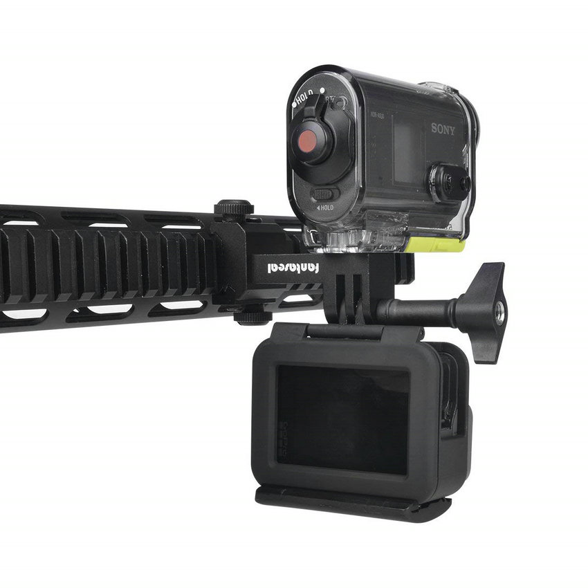 Image 4 - Action Camera Side Gun Mount Picatinny Rail Adapter Kit for Gopro Hero SONY FDX HDR Hunting Rifle Pistol Carbine AirsoftSports Camcorder Cases   -