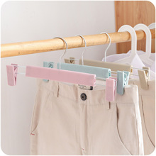 5PCS/Lot 30*15cm Plastic Trouser Hanger Candy Color Kids Trousers Rack with 2 Clips Clothes Hangers for Adults Drying Racks plastic hangers 5pcs