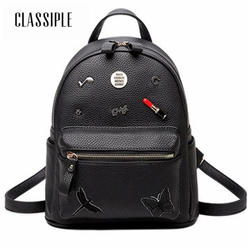 Femmes 2018 mignon sac à dos pour adolescents noir sac d'école filles Style décontracté sacs à dos mode sac à dos femmes dames épaule