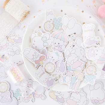 45pcs/box Cartoon Soft Rabbit Diary Decoration Stickers DIY Planner Scarpbooking sealing Label Sticker Children Cute Stationery 45pcs pack magic rabbit alice sticker mini paper diary label sealing scrapbooking decoration diy album stickers stationery