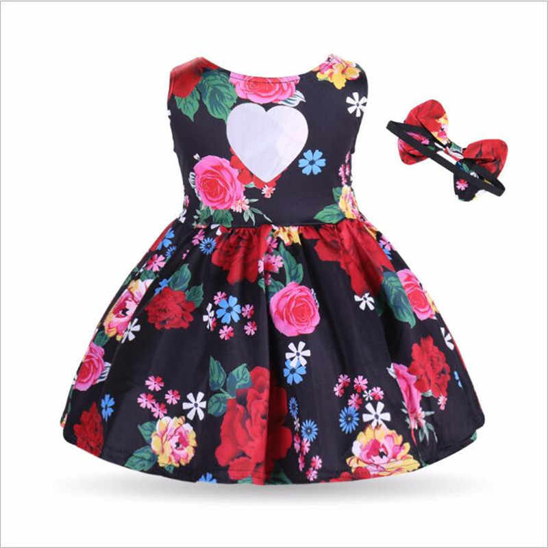30aa5bbd0426 ... Baby Girl Dress Casual Clothing Cotton Bow-tie Hair Band Summer  Sleeveless Floral Hole Love ...