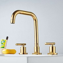 лучшая цена Basin Faucet Brass Gold/Chrome Deck Mounted Widespread Bathroom Sink Faucets 3 Hole Double Handle Hot And Cold Water Tap Pop Up
