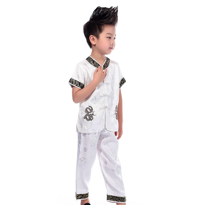 Drop Shipping Boys Girls Dragon Embroidered Kung Fu Costume Chinese Wu Shu Martial Arts Uniform Comfortable Practice Suits