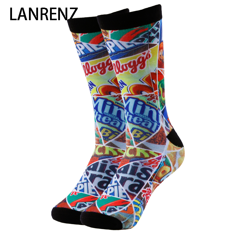 2020 Cartoon Puzzle Printing Men And Women Fashion Funny Socks 3d Printed Socks 200 Knitting Oil Painting Compression Socks
