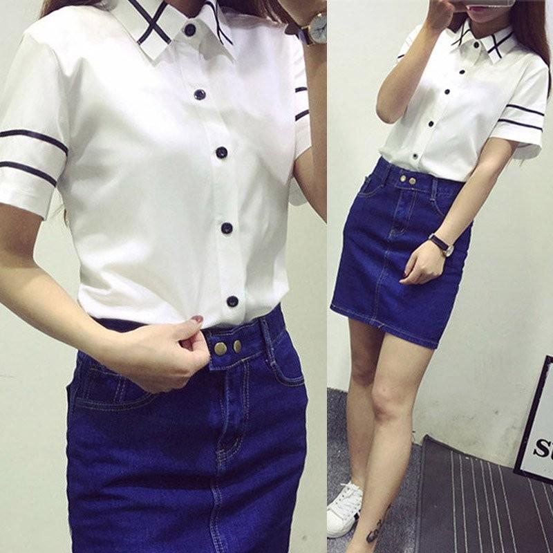 HTB1n8I1MVXXXXa6aFXXq6xXFXXXp - Fashion Ladies Office Shirt White Blue Tops Formal