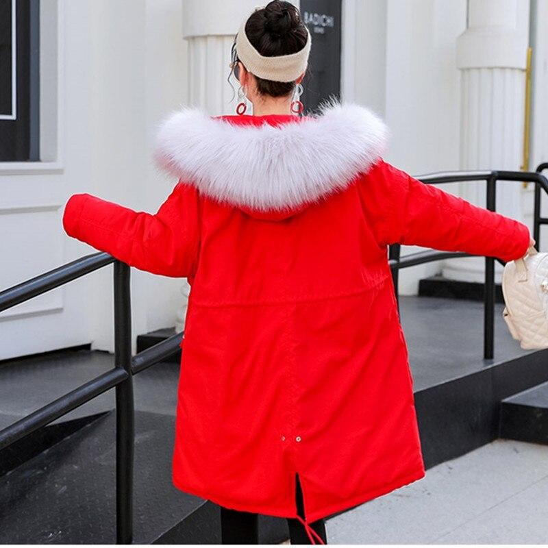 Uhytgf Manteau Coton Col Veste Vers Taille green À D'hiver Épaissir Manteaux Parka Le Femmes Capuchon Rembourré Plus Vestes De Longue 136 Black pink red Bas Fourrure La OEwOzrq