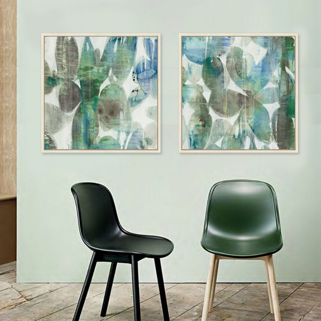 Abstract Canvas Pictures Green Gray Posters Prints Home