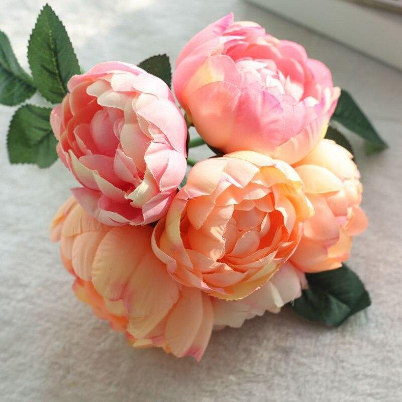 6 Kepala Peony Sutra Bunga Buatan Dekorasi Pernikahan Buket Bunga Palsu Daun  2017 Musim Gugur Aksesoris 795490060b
